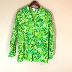 Vintage green floral Hawaiian button down blouse
